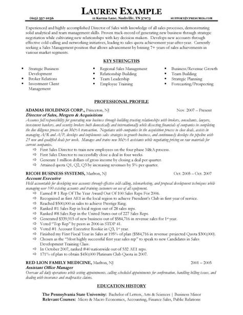 recent resume sles career sales management sle resume