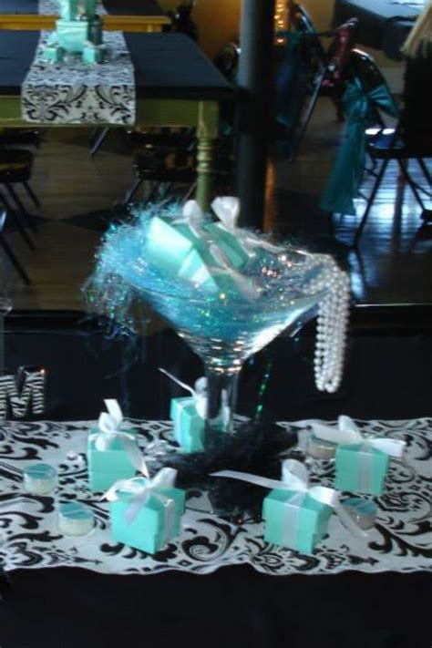 Tiffany themed centerpiece..big martini glass filled with