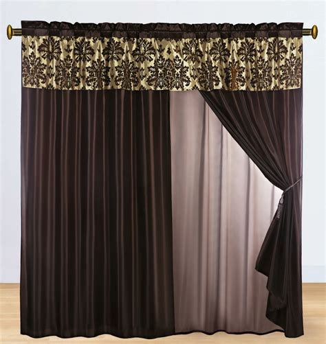 Brown Valance Curtains 4 Pc Silky Satin Flocking Damask Floral Valance Curtain Set Coffee Brown Lining Ebay