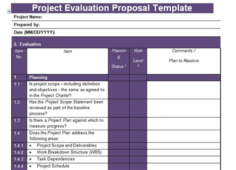 get project evaluation proposal template project