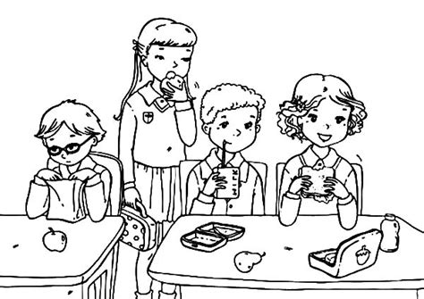 school lunch coloring page school student eat from lunchbox colouring pages lunch