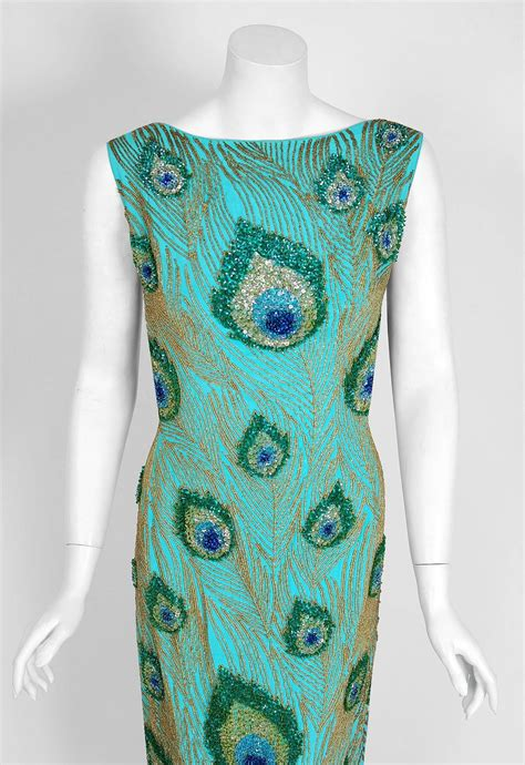 beaded feather dress 1960 s peacock feather novelty beaded sequin silk