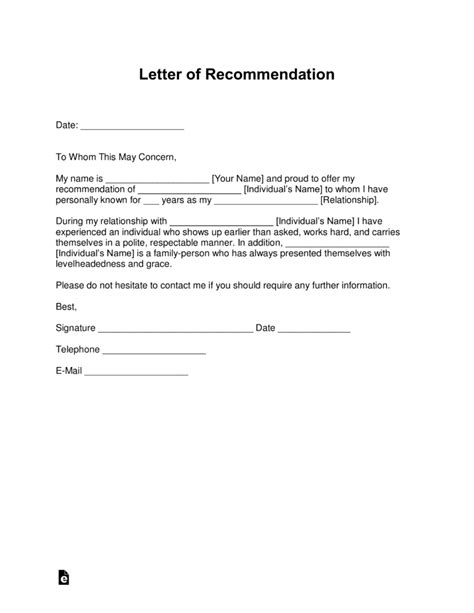 Free Letter Of Recommendation Templates Sles And Exles Pdf Word Eforms Free Letter Of Recommendation Template For