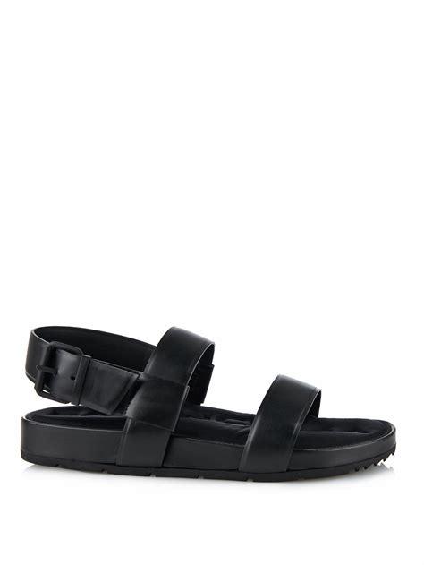 black one sandals lyst balenciaga leather sandals in black