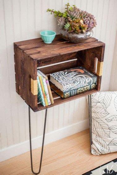 table de chevet fait maison d 233 co r 233 cup des meubles 224 faire avec des caisses en bois
