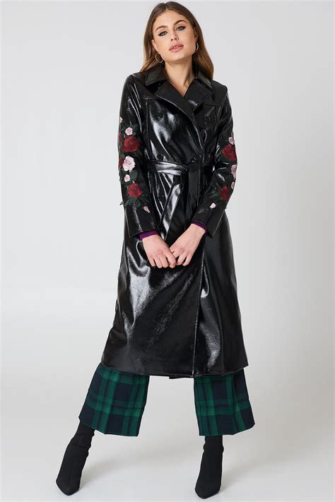 coats embroidery design viewer lyst na kd flower embroidery patent coat in black