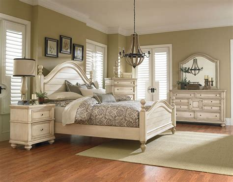 standard furniture chateau poster bedroom set in in bisque