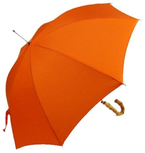 Bamboo Wall Sconces Solid Orange Umbrella With A Bamboo Hook Handle Modern