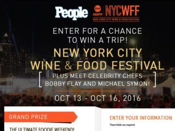 Food Channel Sweepstakes - the people food network cooking channel new york city wine food festival sweepstakes