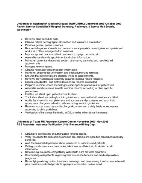 Insurance Verification Specialist Sle Resume by Resume