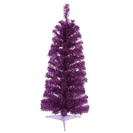 walmart pencil christmas trees artificial 3 purple tinsel artificial pencil tree purple dura lit lights walmart