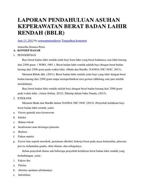 format laporan asuhan keperawatan laporan pendahuluan asuhan keperawatan berat badan lahir