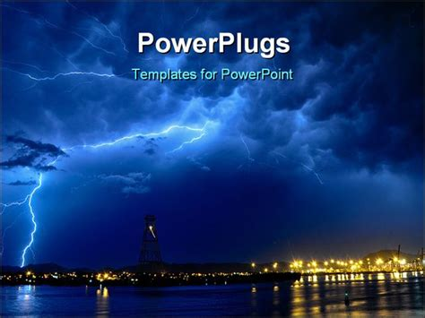 thunder template powerpoint template lightning at seaside