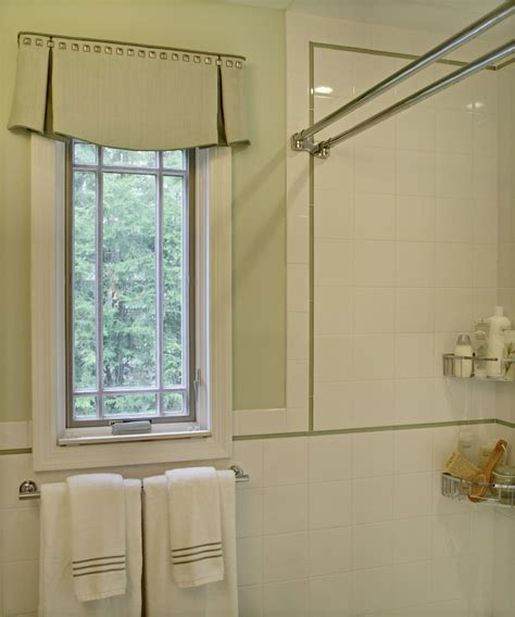 Bathroom Window Decorating Ideas Lovely Shower With Stainles Steel Curtain Rod Decorating Ideas Featuring Accent Tile