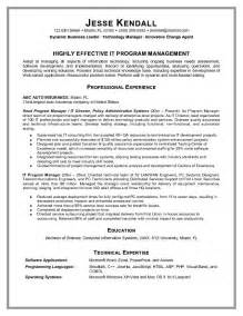 Sample Resume Objectives Information Technology by Example Information Technology Program Manager Resume Sample