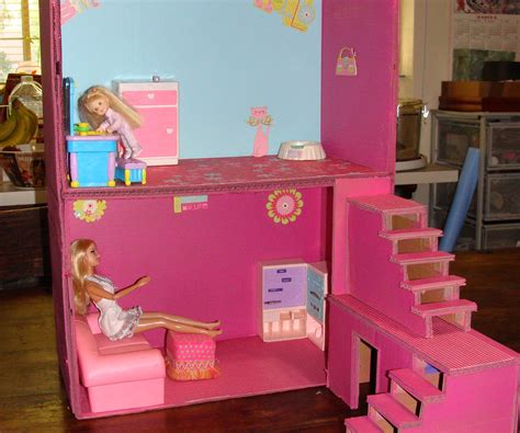 doll houses that fit barbies dollhouse from boxes and cardboard 5 steps