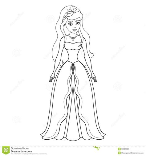 Illustration Of Beautiful Princess, Coloring Book Stock