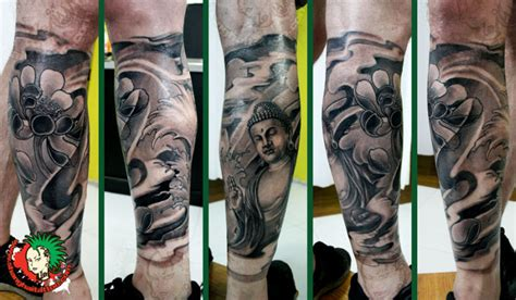 half leg sleeve tattoo buddhist half leg sleeve tattoos book 65 000