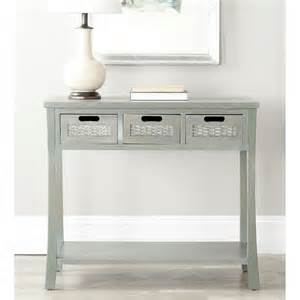 autumn blue grey 3 drawer console table