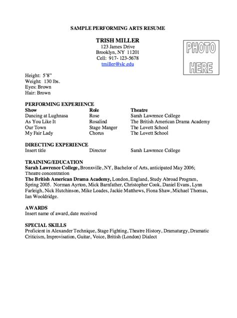 art resume template performing arts resume template free excel templates