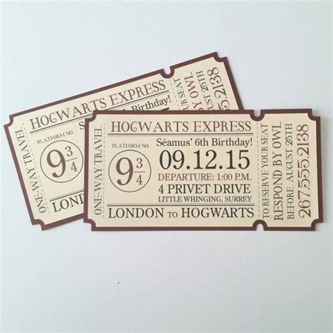 4x8 Hogwarts Express Train Ticket Invitation By Bellybeancards Belly Bean Cards Pinterest 4x8 Invitation Template