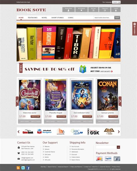 magento themes design pdf book shop magento theme best ecommerce website template
