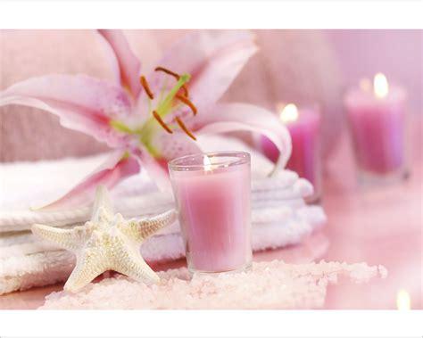 candele e fiori candele rosa con lilium benessere sta su tela