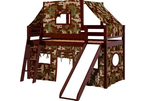 loft bed tent camo cabin cherry jr tent loft bed with slide and top