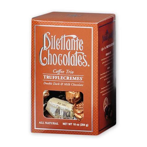 Chocolate Grande Coffee Toffee coffee trio trufflecremes in milk chocolate 10 oz dilettante chocolates