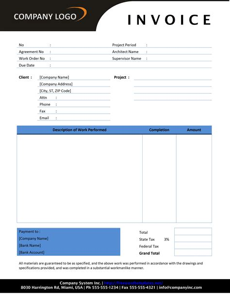 Free Construction Invoice Template Word contractor invoice template free microsoft word templates