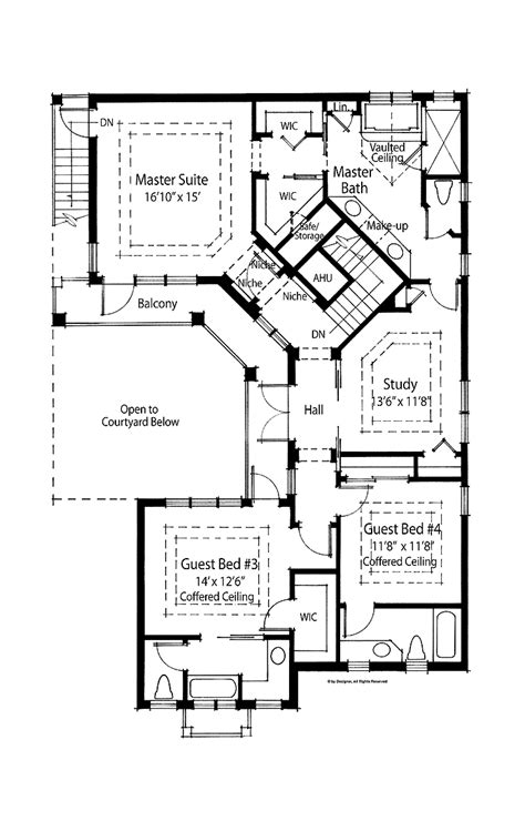 Style Home Plans With Courtyard by Modern House Plans Courtyard Pool
