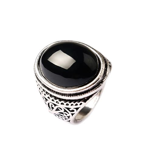 aliexpress buy black rings for antique silver plated big oval onyx rings for