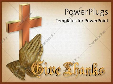 Powerpoint Template Bronze Sulpture Of Hands Giving Thanks With 3d Cross 29326 Powerpoint Announcement Templates