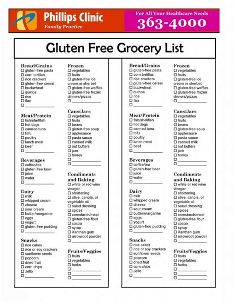 printable diet plan for hypothyroidism gluten free grocery list dinner pinterest free