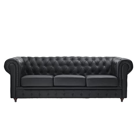 Classic Scroll Arm Tufted Button Bonded Leather Classic Chesterfield Sofa