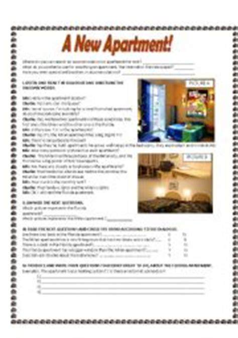 Apartment Vocabulary Teaching Worksheets At Home