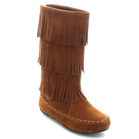 fridge boots fashion knee high mocassin fringe low heel boots