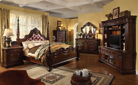 traditional king bedroom sets traditional poster bedroom furniture set with leather