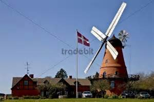 European Style House by Historic Dutch Style Windmill Aastrup Faaborg Funen