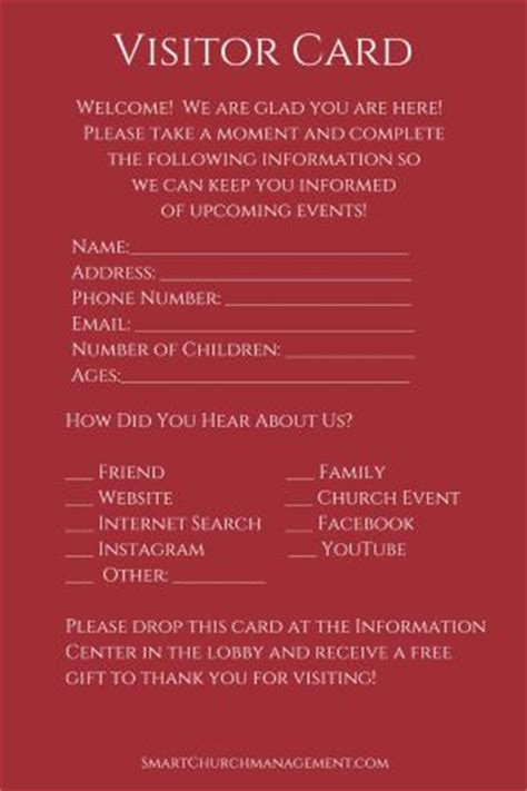 5 Tips To Follow Up With Church Visitors Visitor Card Church Template