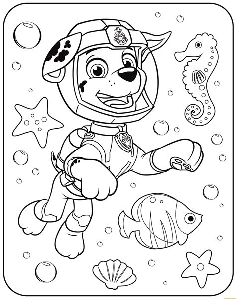 printable coloring pages underwater paw patrol marshall underwater coloring page free
