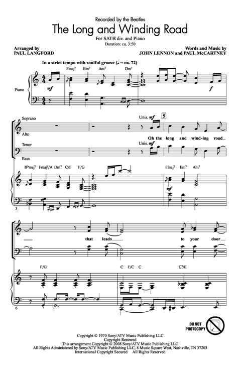 testo come together beatles the and winding road satb by le j w pepper