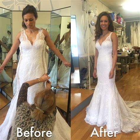 wedding dress alterations huntington ca 2 before after wedding dress alteration initially it was a size 12 and mila altered it to be a