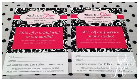 Gift Card Coupons - philadelphia custom business cards make me glam business promo cards april lynn