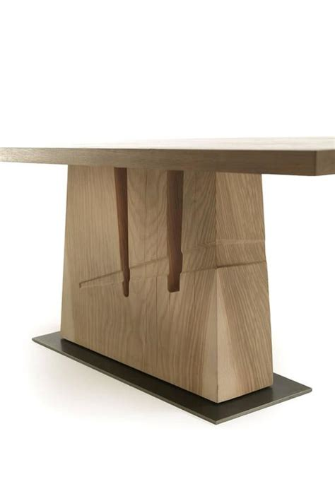 L Wood Base by Table In Solid Cedar Wood With Base In One Block For Sale