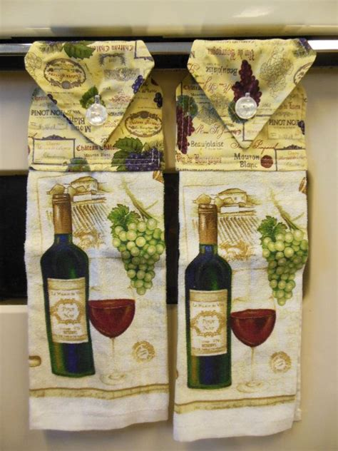 wine theme kitchen hanging towel wine themed