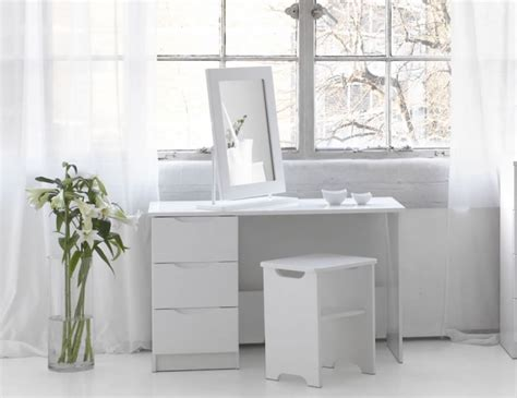 white bedroom dressing table trend white high gloss dressing table stool and mirror option