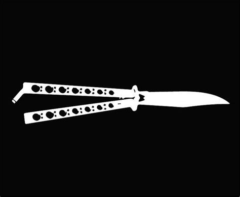 knife with a butterfly logo butterfly knife balisong vinyl sticker decal sticks by