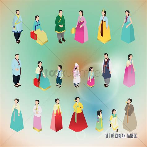 Set Premium Hanbok Asli Korea 4 set of korean hanbok icons vector image 2014181