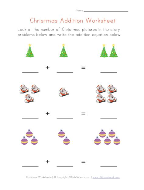 Christmas Themed Worksheets | addition worksheet christmas theme